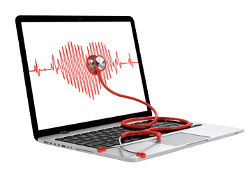 laptop with heart readings