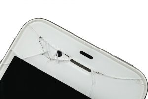 A cracked phone case